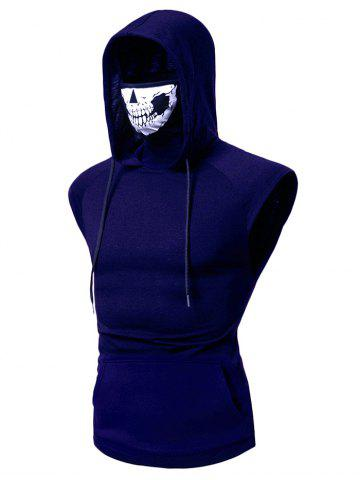 Mask Skull Hooded Pullover Vest - BLUE - 3XL