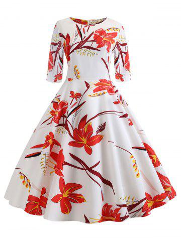 Vintage Floral Knee Length Dress