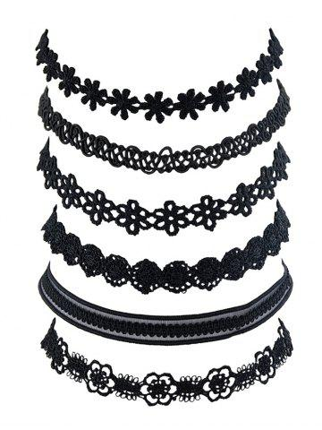 6 Piece Floral Lace Choker Necklace Set
