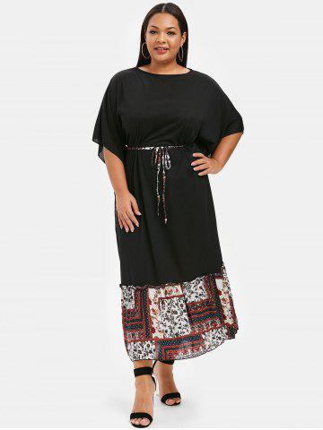 15a9c7926d Plus Size Batwing Sleeve Flounced Maxi Dress