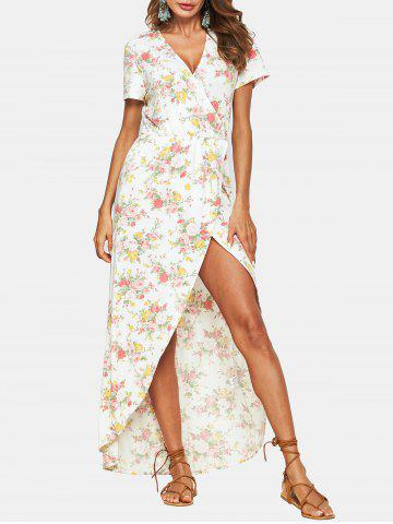 Flower Low Cut Asymmetrical Dress