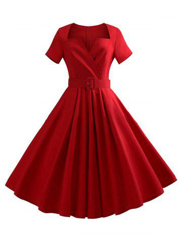 Notched Collar Belted Solid Dress