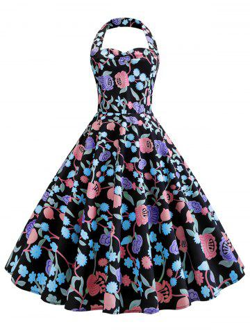 24d305a430 Vintage Halter Full Print Pin Up Dress