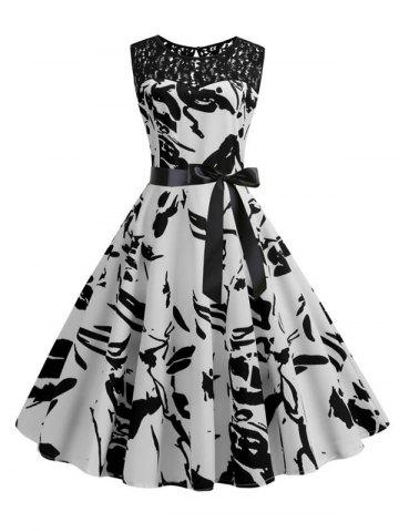 Vintage Lace Insert Printed Pin Up Dress