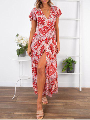 Bohemian Floral Print High Slit Maxi Wrap Dress