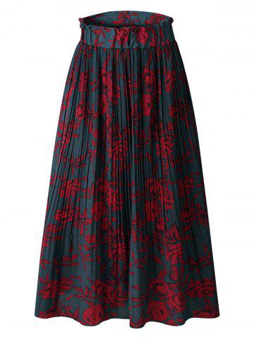 Flower Pleated A Line Skirt