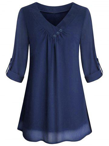 Cuffed Sleeves Buttons V Neck Blouse