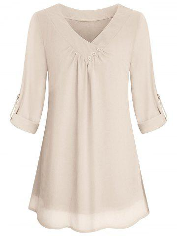 409f8d2a960cc7 Cuffed Sleeves Buttons V Neck Blouse