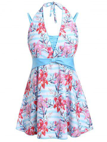 Plus Size Knotted Floral Skirted Tankini Set