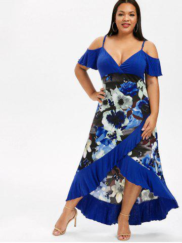 710acc823d8 Plus Size High Low Cold Shoulder Ruffle Dress