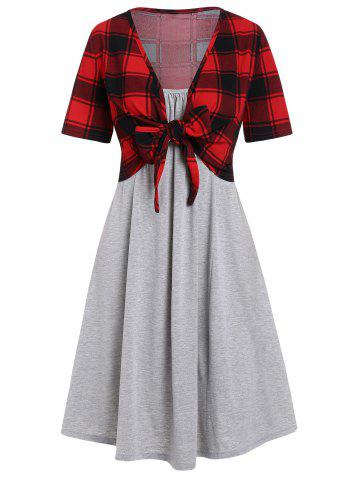 Plaid Knot Top and Cami Dress Set