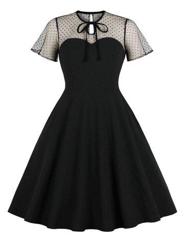 Tie Dotted Mesh Panel A Line Dress