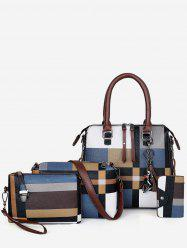 4Pcs Color Block Checker Tote Bag Set -