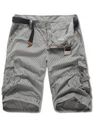 Multi-pocket Striped Design Cargo Shorts -
