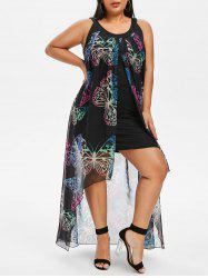 Butterfly Print Plus Size Maxi Overlay Dress -