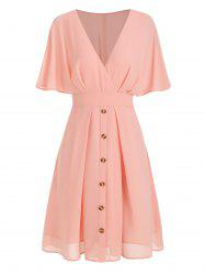 Surplice Plunge A Line Dress -