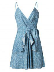 Smocked Back Surplice Cami Belted Dress -