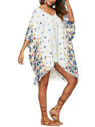 Flower Batwing Sleeve Beach Cover Up -