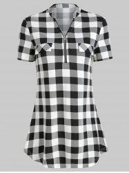 Checked Zippered T Shirt -