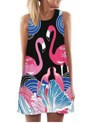 Flamingo Print Mini Tank Dress -