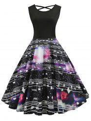 Musical Note Print Flare Dress -