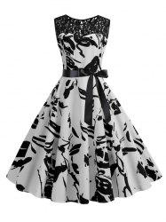 Vintage Lace Insert Printed Pin Up Dress -