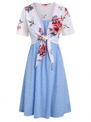 Knotted Flower Top and Cami Dress Set -