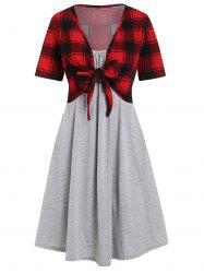 Plaid Knot Top and Cami Dress Set -