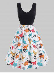Plus Size Dinosaur Print Fit and Flare Dress -