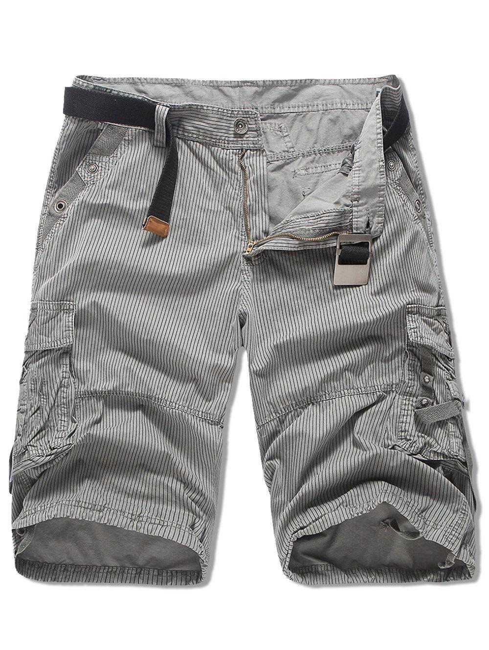 Outfit Multi-pocket Striped Design Cargo Shorts