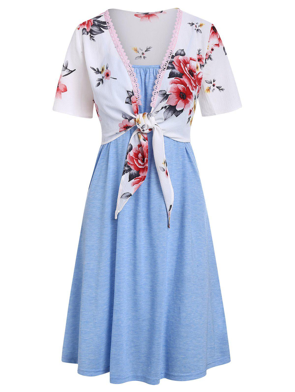 Online Knotted Flower Top and Cami Dress Set