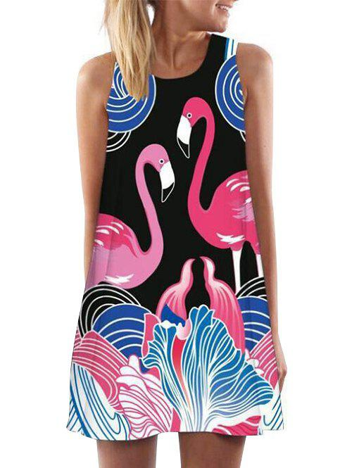 Latest Flamingo Print Mini Tank Dress