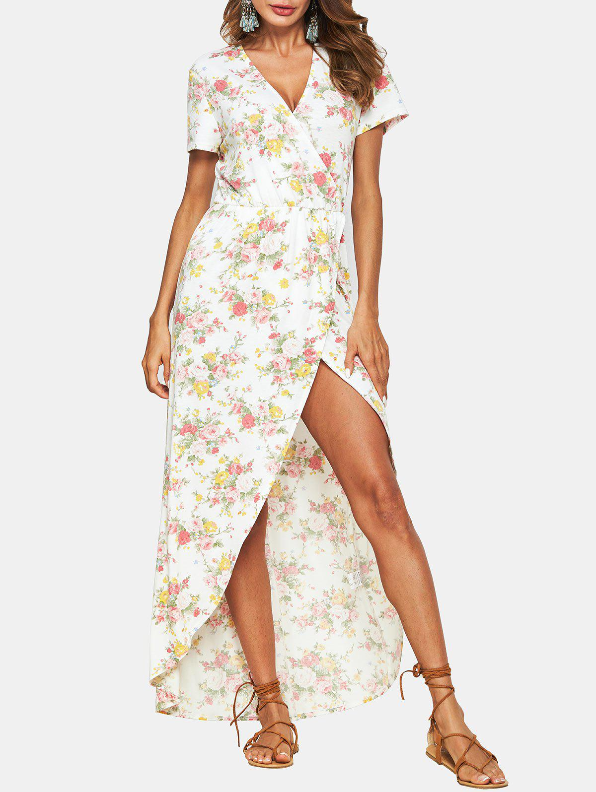 Unique Flower Low Cut Asymmetrical Dress
