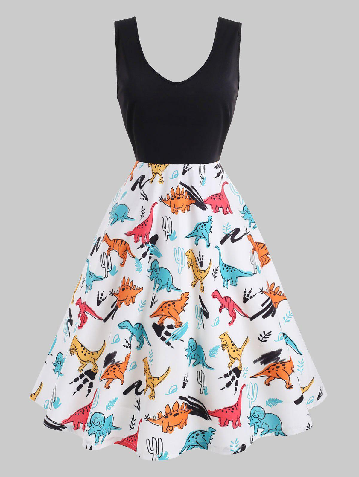 Outfits Plus Size Dinosaur Print Fit and Flare Dress