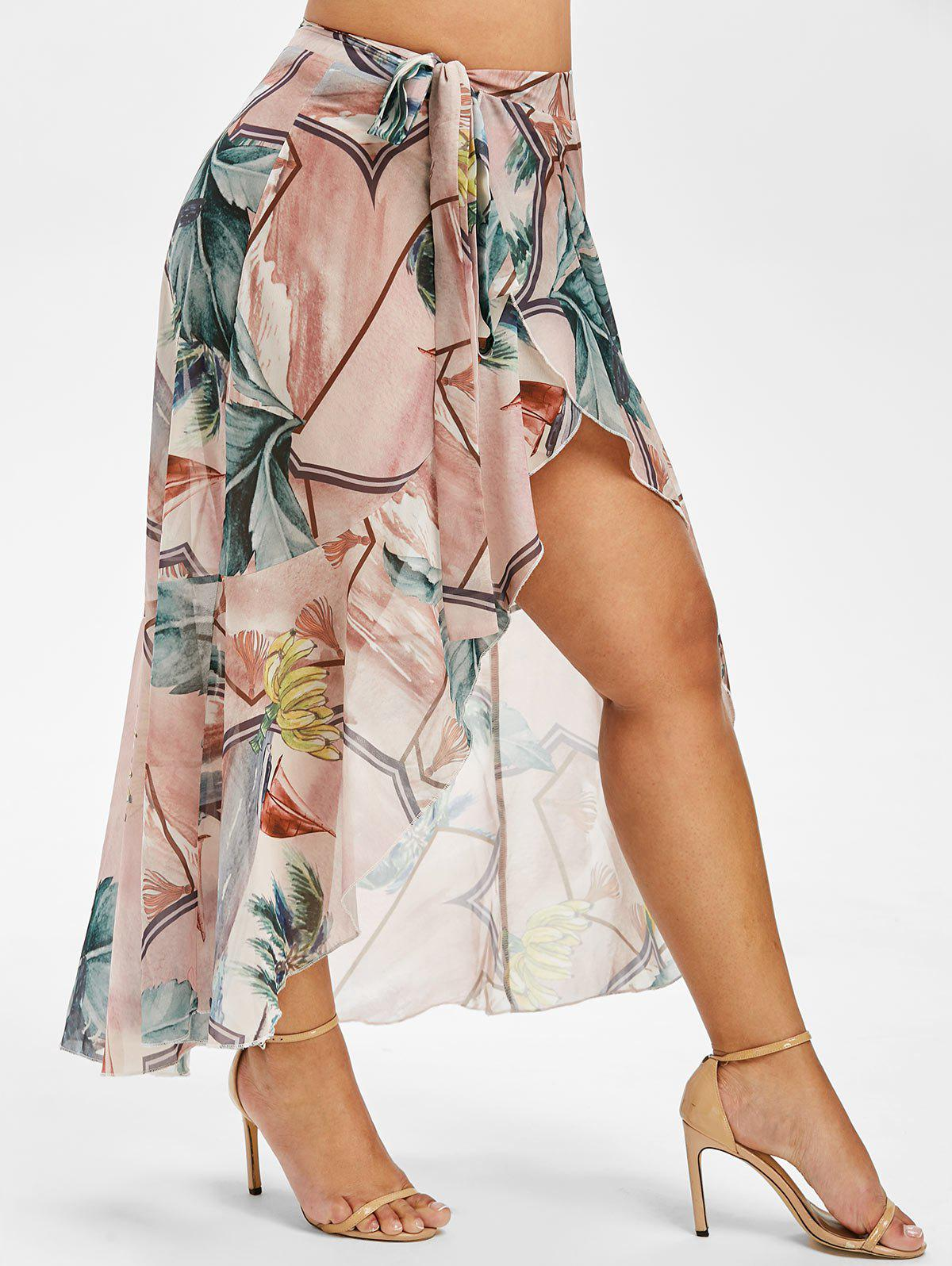 Leaves Bananas Print Plus Size Swim Wrap Skirt