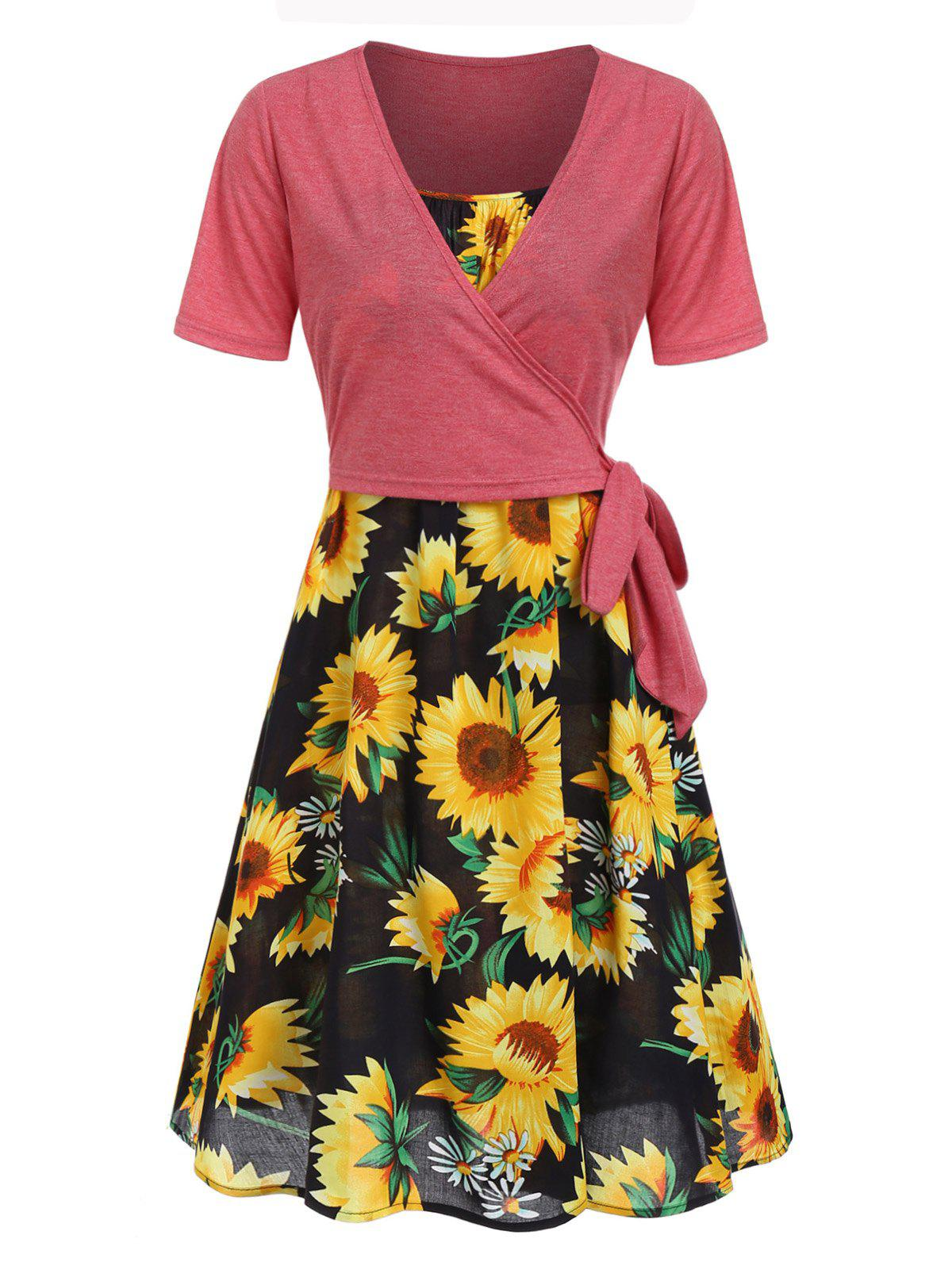 Outfit Sunflower Cami Dress and Wrap T-shirt Set
