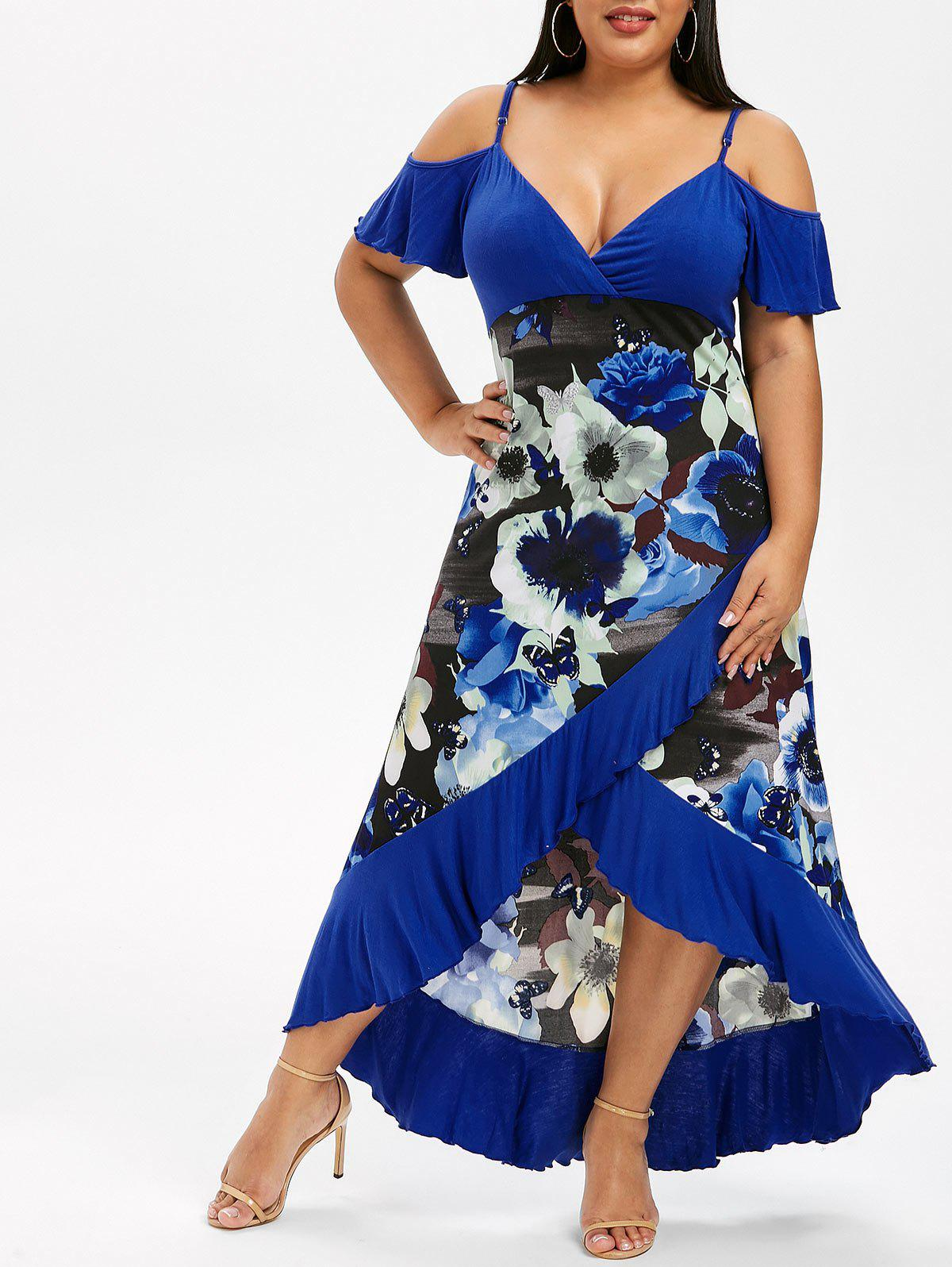 Trendy Plus Size High Low Cold Shoulder Ruffle Dress