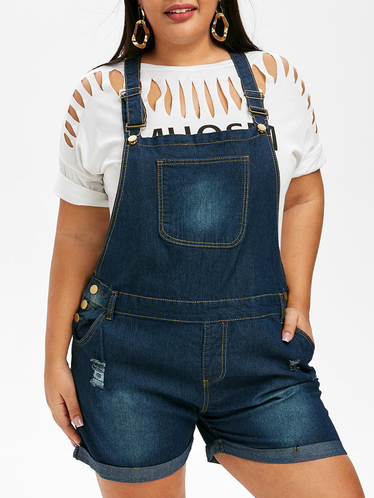 Cheap Ripped Cuffed Plus Size Denim Overalls