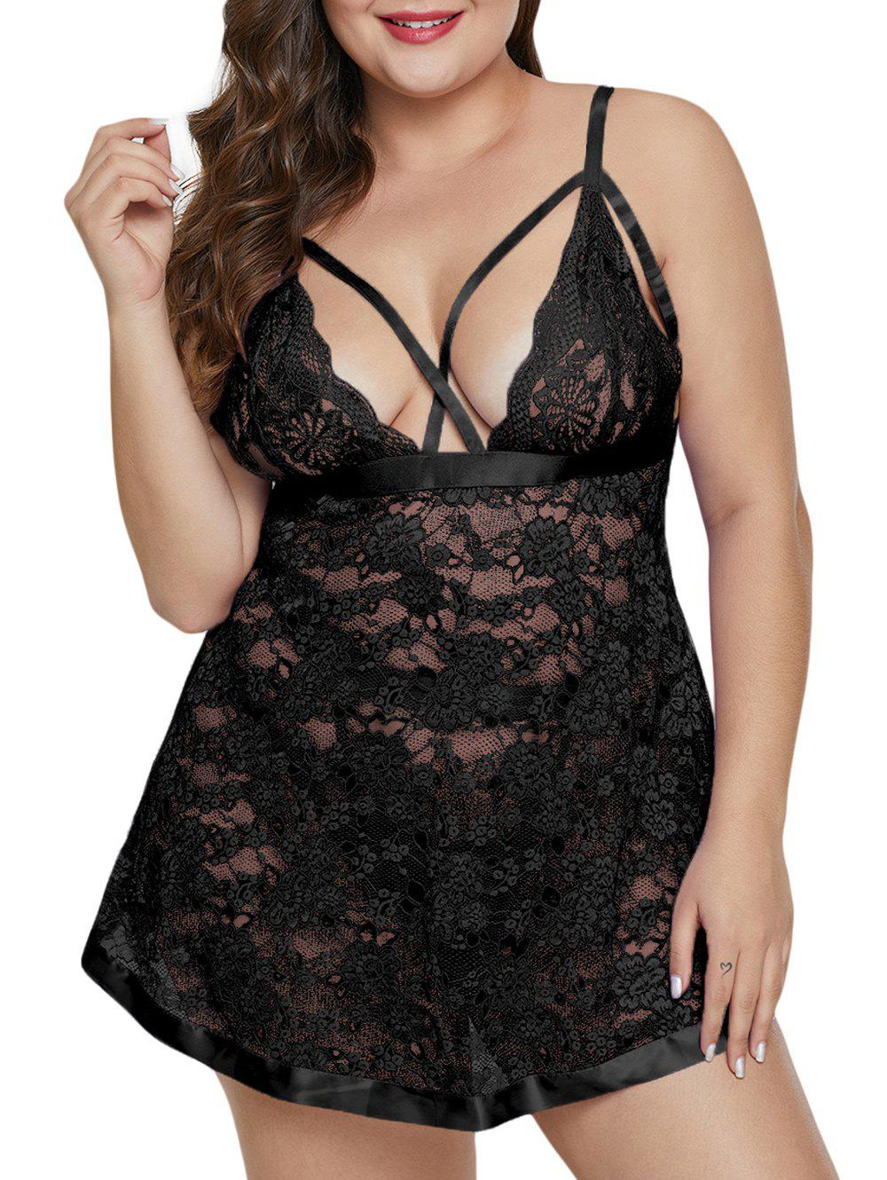 Store Plus Size Strappy See Thru Lace Babydoll