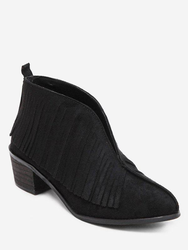 Best V Cut Fringed Chunky Heel Ankle Boots