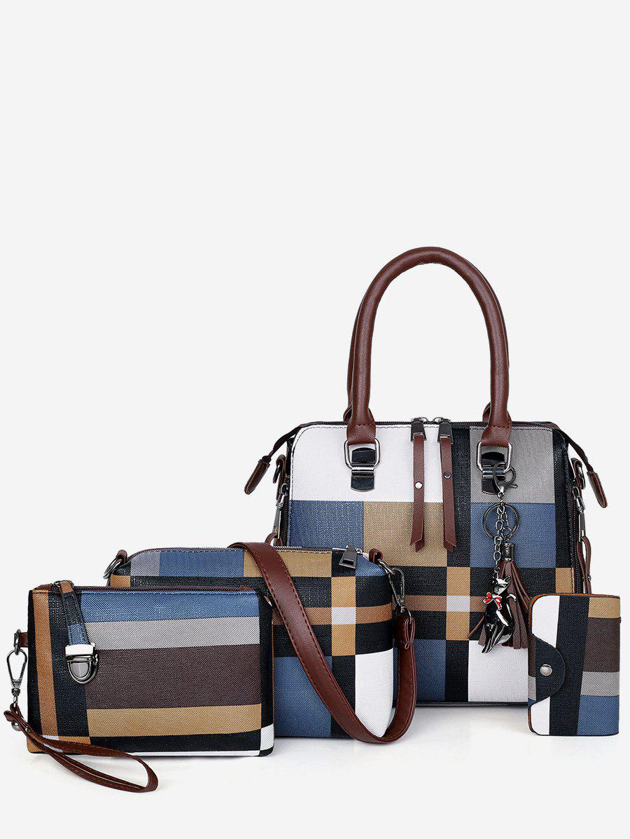 Buy 4Pcs Color Block Checker Tote Bag Set