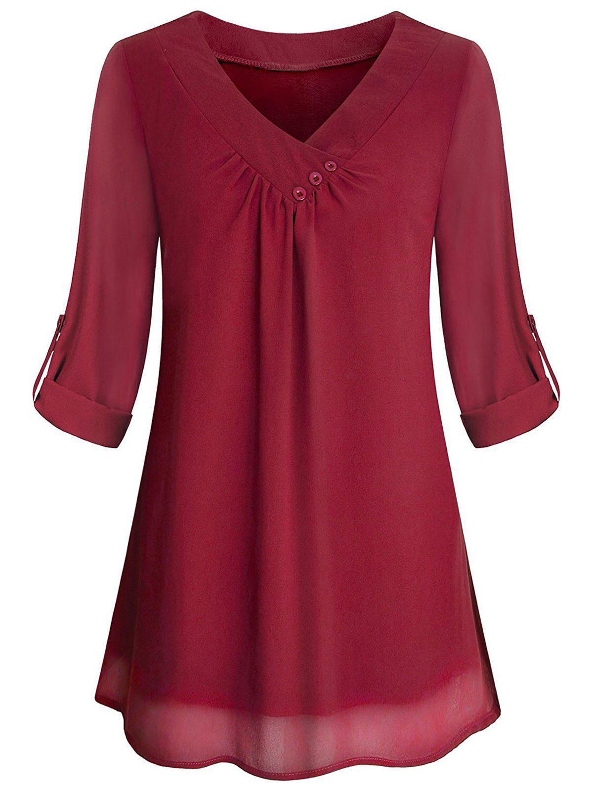2979eb1c 48% OFF] Cuffed Sleeves Buttons V Neck Blouse | Rosegal