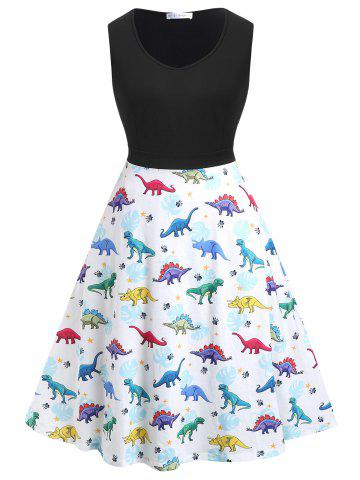 Plus Size Sleeveless Dinosaur Print Flare Dress