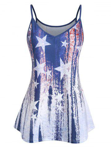 Plus Size Cami American Flag Print Tank Top