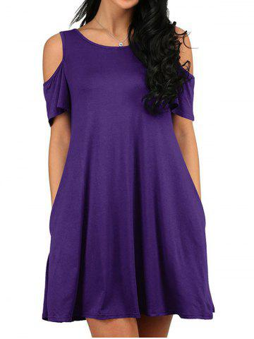 Open Shoulder Mini T-shirt Dress
