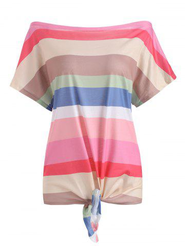 Striped Off Shoulder Batwing Sleeve T-shirt