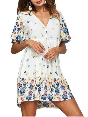 Flower Butterfly Sleeve Smock Dress