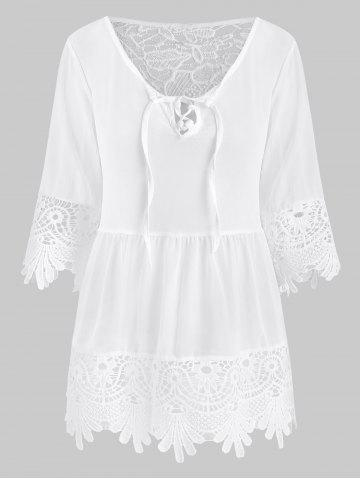 Crochet Panel Lace-up Sheer Blouse