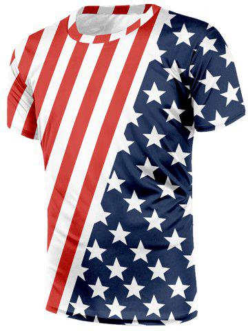 American Flag Print Short Sleeves T-shirt