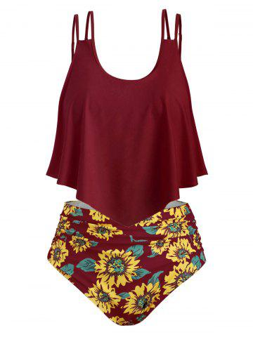 021673327 Contrast Overlay Sunflower Plus Size Tankini Set